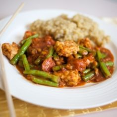 Tempeh and Green Beans in Spicy Peanut Sauce