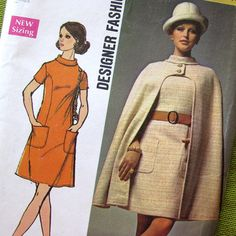 Vintage Sewing Pattern Late '60s MOD Cape and by SelvedgeShop