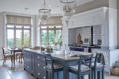 Kitchen Island from Neptune in Country Kitchen - kitchen design on HOUSE by House & Garden. Stylish kitchen design for small city homes and grand country ones alike Painted Kitchen Island, Grey Painted Kitchen, Grey Kitchen Island, Kitchen Islands, Gray Island, Painted Island, Family Kitchen, Country Kitchen, New Kitchen