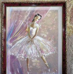 картина на натуральном шелке `Маленькая балерина`, в раме
