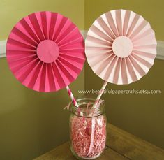 2 6 Pink Bows Rosettes Centerpieces Paper by BeautifulPaperCrafts Garden Birthday, Pink Birthday, Birthday Parties, Homemade Birthday Decorations, Candy Centerpieces, Buffet Decorations, 1st Birthday Cake Topper, Paper Fans, Pumpkin Crafts