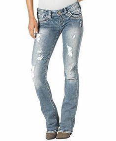 Silver Jeans Juniors' Aiko Destroyed Bootcut Jeans - Juniors Jeans - Macy's