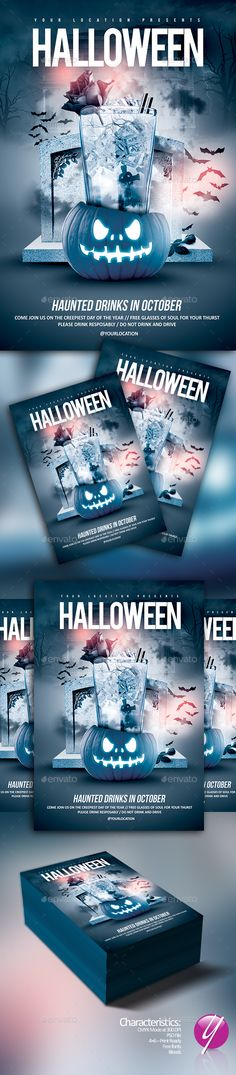 Halloween Haunted Drinks Flyer Template PSD