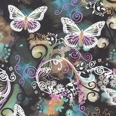 Filigree Flutter Multi Michael Miller Fabric 1 by BellaFabrics, $8.75