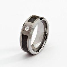 8mm Diamond Tungsten Men's Wedding Band by ChrisKdesigns on Etsy