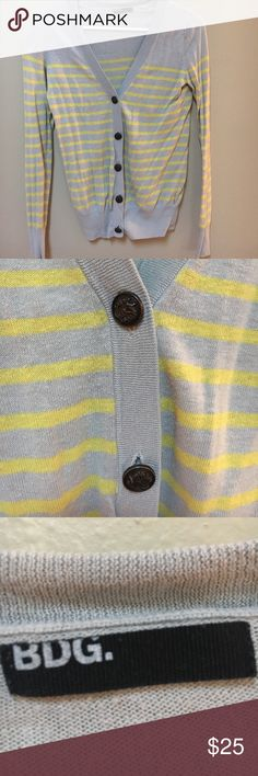BDG cardigan Urban Outfitters BDG cardigan in oatmeal/taupe and yellow with unique buttons. Gently worn. BDG Sweaters Cardigans