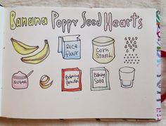 Easy and Happy Food: Banana Poppy seed hearts. Corazones de banana y am...