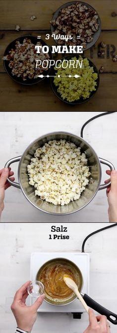 3 Ways to make Popcorn: Chocolate-Popcorn, Peanut-Caramel-Popcorn and Curry-Popcorn