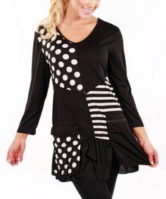Look at this #zulilyfind! Black & White Polka Dot Stripe Tunic by Aster #zulilyfinds
