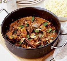 Moroccan lamb with apricots, almonds & mint - a hearty and healthy stew Ingredients - serves 4 2 tbsp olive oil 550g lean lamb , cubed 1 onion , chopped 2 garlic cloves , crushed 700ml lamb or chicken stock grated zest and juice 1 orange 1 cinnamon stick 1 tsp clear honey 175g ready-to-eat dried apricots 3 tbsp chopped fresh mint 25g ground almonds 25g toasted flaked almonds steamed broccoli and couscous, to serve