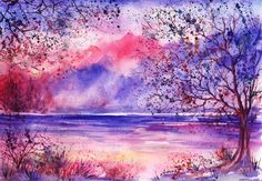 Watercolor Tree Paintings : Anna Armona I want to try this style with Brusho and ink.