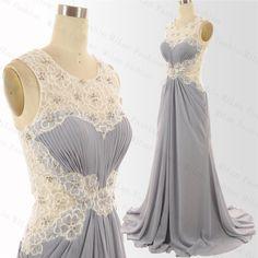 Lace Prom Dress Chiffon Bridesmaid Dress Gray by MiLanFashion, $189.00