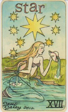 Dame Darcy Mermaid Tarot - The Star. Major arcana. tarot cards. divination. fortune telling. oracle. Get her beautiful deck at her DameDarcy shop on Etsy!