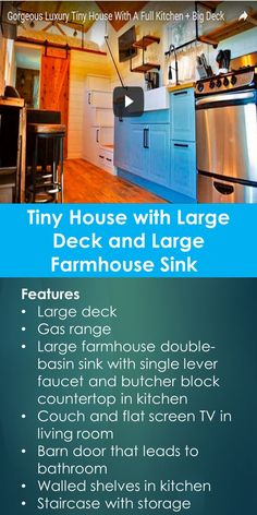 This beautiful tiny house has a large deck, a large farmhouse sink with butcher block countertop. Features      Large deck     Gas range     Large farmhouse double-basin sink with single lever faucet and butcher block countertop in kitchen     Couch and flat screen TV in living room     Barn door that leads to bathroom     Walled shelves in kitchen     Staircase with storage underneath and pipe hand rails     Bedroom with queen size bed and sconce lighting     Loft with king-size bed and…