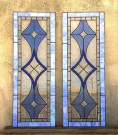 Stained Glass Cabinet Inserts – Bevels and Blues - Modern Making Stained Glass, Faux Stained Glass, Stained Glass Panels, Stained Glass Projects, Stained Glass Patterns, Leaded Glass Windows, Bay Windows, Stained Glass Cabinets, Glass Kitchen Cabinet Doors