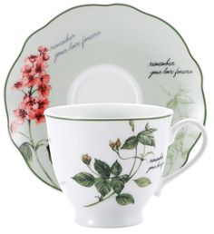 Set of 4. 2 Porcelain Tea Cup & 2 Matching Saucers in Gift Box Tea Cup & Saucers #Brunchfield
