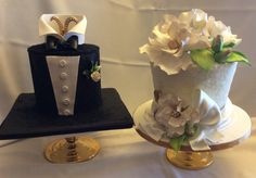 Beautiful Bride and Groom cakes.  Tuxedo cake and Bride cake covered in crystal sugar
