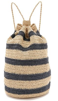 Navy and khaki striped beach bag