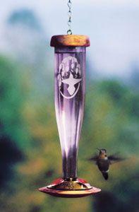 Schrodt Amethyst Etched Glass Hummingbird Feeder