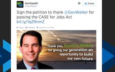 Koch funded Youth Group sends out tweet thanking Scott Walker for the whopping 5,800 jobs he created.