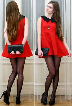 red high waist mini dress, black peter pan collar, black sheer tights, heels and clutch outfit.super cute dress but waaaayyyy too short. Mode Outfits, Sexy Outfits, Sexy Dresses, Dress Outfits, Short Dresses, Girl Outfits, Casual Chique, Pantyhose Outfits, Nylons