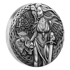 Norse Goddesses – Freya 2017 2oz Silver Antiqued High Relief Coin   The Perth Mint