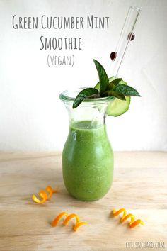 Green Cucumber Mint Smoothie - nut free, vegan, refreshing | curlsnchard.com