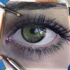 Drawn artistic green eye #1201