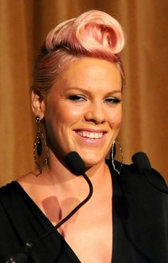 Pink rocks a twisted pompadour