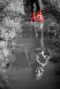 One Color, Color Pop, Gray Color, Black And White Background, Black White Red, Red Rain Boots, White Picture, Beautiful Children, 2 Colours