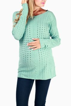 Mint Green Textured Long Sleeve Maternity Sweater