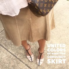 """DONATE ITEM: Bargain Tan Corduroy Fit/Flare Skirt 100% cotton tan corduroy skirt from United Colors of Benetton, size 38 fits like a 00 in my opinion. Fitted through hips with a flared hemline. Zip fly with button closure, front and back pockets. Good condition with no damage, stains, or signs of wear other than minimal norm. Very slight fraying on edges was as purchased new. Laying flat: Approx. 13.5"""" across waist, 16.5"""" across hips, 23"""" length. *Pay Shipping and min. Posh Cost ONLY* United…"""