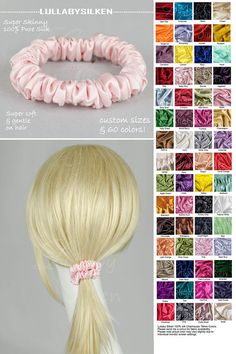 hair scrunchie, skinny hair scrunchie, natural hair product, hair ties, pure silk charmeuse, sensitive hair care, hair holder, ponytail, hs3