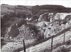 Mauthausen quarry with inmates seen working in the distance World War Two