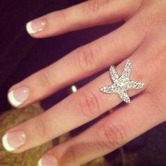 (:Starfish wedding. Precioso anillo de bodas, para las amantes del mar