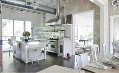 Industrial chic kitchen.  Fabulous!  I need this.