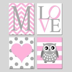 Baby Girl Owl Nursery Art Pink Owl Nursery Decor Owl Nursery Wall Art Set of 4 Prints or Owl Canvas Art, Heart Nursery Art Girl Nursery Art Owl Nursery Decor, Nursery Canvas, Nursery Wall Art, Girl Nursery, Girl Room, Owl Canvas, Canvas Art, Bedroom Decor, Decoration