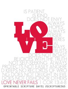 1 Corinthians 13:4-8. Love never fails. Printable art.  --- What a challenge and comfort!