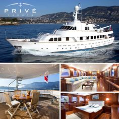 """This opulent motor yacht exudes comfort and elegance. Her generous guest spaces accommodate up to 11 people in 4 staterooms. Her large salon and dining area are perfectly suited to charter families and friends. Her decks allow for sun-bathing or relaxing in the shades. Available to charter August 30th through September in the West Mediterranean. Email <a href=""""mailto:info@priveyacht.com"""" rel=""""nofollow"""">info@priveyacht.com</a> for more details! """
