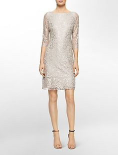 metallic lace 3/4 sleeve sheath dress | Calvin Klein