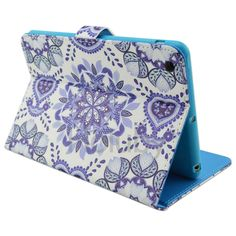 Purple Flowers Magnetic Side Flip Stand TPU+ PU Leather Case for iPad Mini 3 iPad Mini 2 Retina iPad Mini