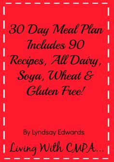 Dairy Free Recipes By Living With Cow's Milk Protein Allergy also dairy & soya free recipes dairy soya & egg free recipes dairy soya & wheat/gluten free Wheat Free Recipes, Allergy Free Recipes, Vegan Recipes, Lactose Free Diet, Vegan Gluten Free, Dairy Free Eggs, Gluten Intolerance, Free Food, Milk Protein