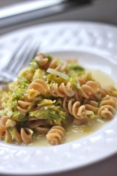 Whole Wheat Rotini with Shredded Brussels Sprouts | TheCornerKitchenBlog.com