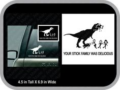 your stick figure family was delicious with t-rex car truck decal - pinned by pin4etsy.com