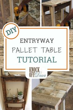 Simple table designs do not require a lot of power tools in order to construct them. This pallet table made by My Home Decor Guide requires two power tools, pallet wood, and 2×2 wood for the legs. You will love this DIY entryway pallet table. Take a look. KnockOffDecor.com Diy Projects On A Budget, Diy Projects Plans, Pallet Projects, Project Ideas, Wood Pallets, Pallet Wood, Pallet Ideas, Pallet Bar, 1001 Pallets