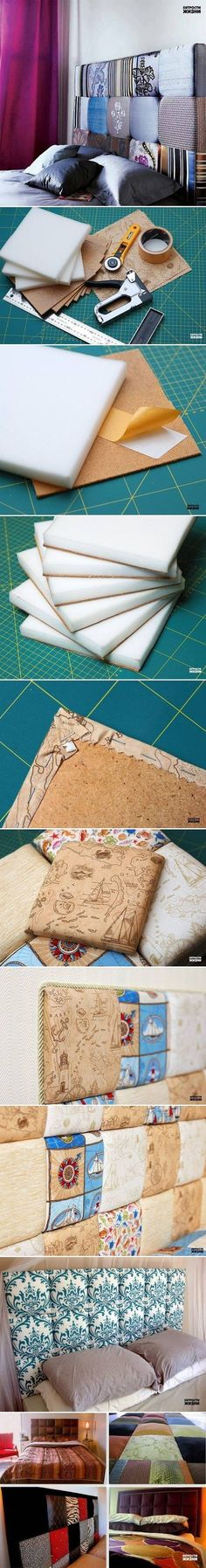 DIY Soft Headboard - Looks like it's made with foam pieces, cork tiles, tape, staples, and fabric. #diy #headboard #bedroom