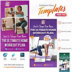 At Home Workout Plan, At Home Workouts, Free Instagram, Instagram Story, Web Banner Design, Facebook Timeline Covers, Social Media Banner, Banner Template, Banners
