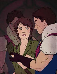"""I'm On Your Side...""  Fanart of G.I.Joe's Lady Jaye and Cobra's Crimson Guard commanders, Tomax and Xamot."
