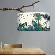 Lamp shade Tropical Lions Blue - drum lampshade Lion decor jungle tropical decor nursery lampshade b Tropical Home Decor, Tropical Interior, Tropical Colors, Tropical Houses, Tropical Furniture, Blue Room Decor, Blue Rooms, Blue Lamp Shade, Decoration