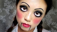 ▷ 1001 + Halloween make-up tips for your healthy skin.- ▷ 1001 + Halloween Schminktipps, die für Ihre gesunde Haut sorgen make halloween costume child himself, a doll, lots of rouge on the cheeks, big eyes make-up - Creepy Doll Costume, Creepy Doll Makeup, Scary Dolls, Costume Makeup, Puppet Makeup, Puppet Costume, Marionette Puppet, Broken Doll Makeup, Doll Face Makeup